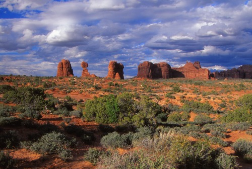 Balanced Rock, Buttes and Storm Clouds