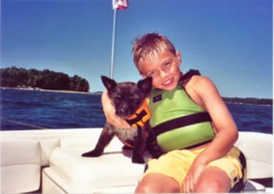 Boy & Dog Wearing Live Vests