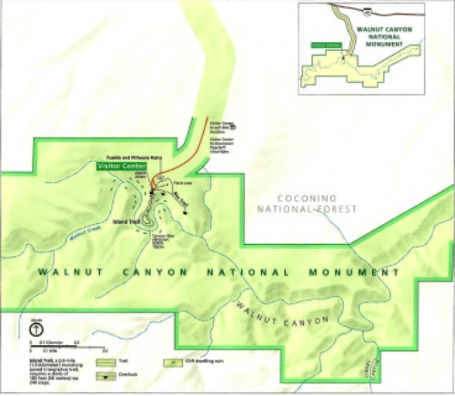 Walnut Canyon National Monument Map