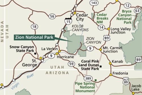 Zion National Park  Area Map