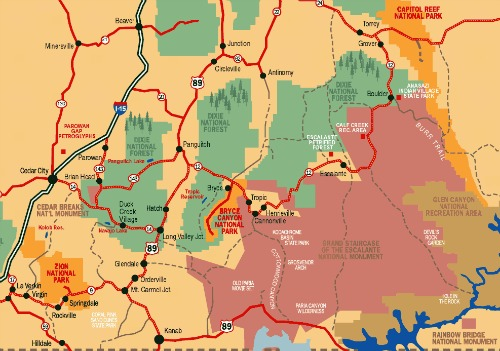 Area Map Bryce Canyon NP