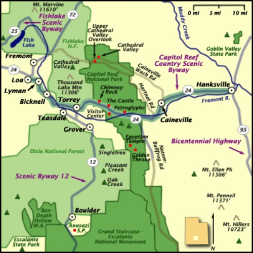 Capitol Reef National Park - Map