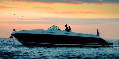 Power Boat at  Sunset