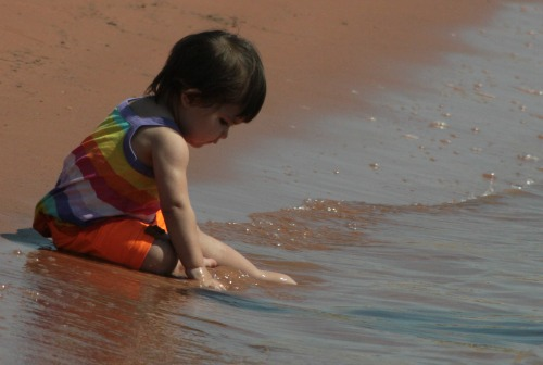 Toddler Playing in Water