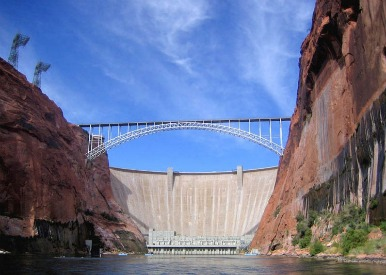 Colorado River Bridge and the Glen Canyon Dam.